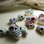 Polymer Clay Beads with Sugar Skull Designs